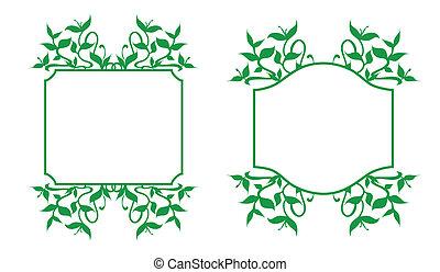 Floral Frames Set - Plant sprouts frame decoration -...