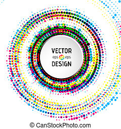 Abstract spiral background with colorful circles - Vector...