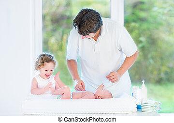 lindo, recién nacido, bebé, Mirar, el suyo,...