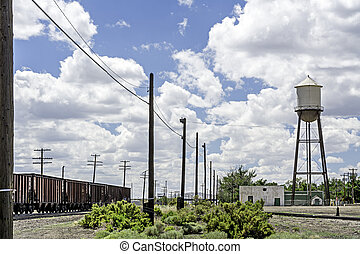 Old railroad and water tower in Wyoming - Railroad and water...