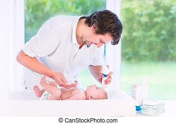 el suyo, padre, hol, hijo, joven, recién nacido, pañal,...