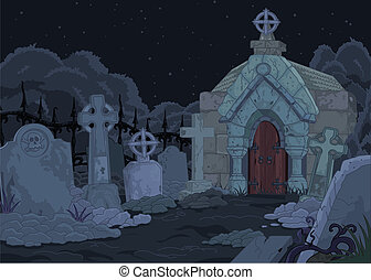 Cemetery - Illustration of night gothic cemetery