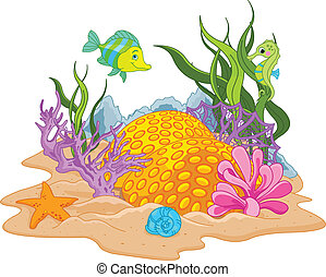 Underwater landscape - Illustration of background of an...
