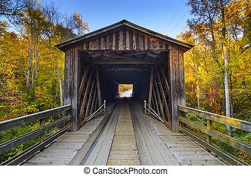 Old Covered Bridge in Fall Season - Elders covered bridge in...