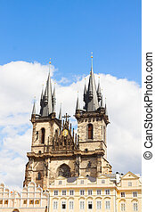 facade Tyn cathedral church at sunny day, Prague, Czech...