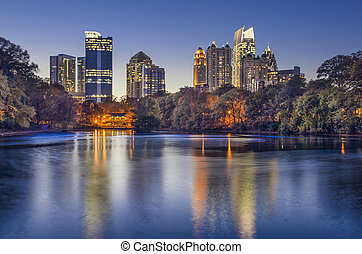 Atlanta, Georgia Piedmont Park Skyline - Atlanta, Georgia,...