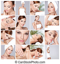 Multiple photos of beautiful girl during health and spa time