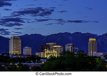 Skyline of Salt Lake City night - Salt lake City Utah...