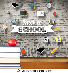 compuesto, imagen, de, espalda, a, escuela, mensaje, con,...