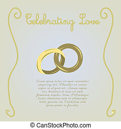 wedding - a pair of wedding rings on a light yellow...