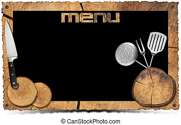 Rustic Menu Background - Photo Frame - Empty wooden frame...
