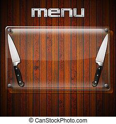 Rustic Menu Background - Glass Plate - Glass or plexiglass...