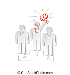 Paper men on the sports pedestal vector concept