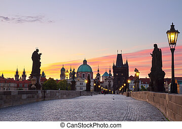 Charles bridge at sunset, Prague, Chech Republic