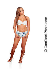Sensual beautiful girl with jeans short isolated on a white...