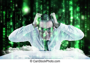 Composite image of stressed businessman using a keyboard -...