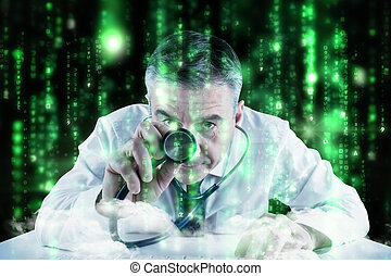 Composite image of mature businessman running diagnostics -...