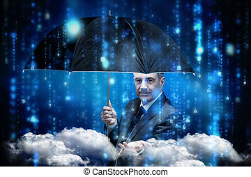 Composite image of mature businessman holding an umbrella -...