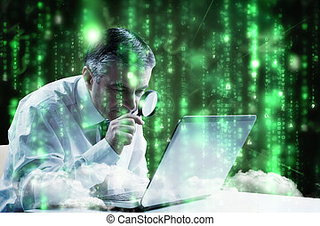 Composite image of mature businessman examining with...