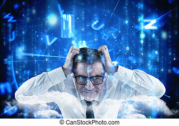 Composite image of stressed businessman touching his head -...
