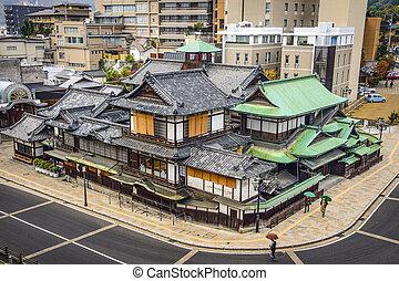 Matsuyama, Japan at Dogo Onsen - Matsuyama, Japan cityscape...