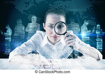 Composite image of businesswoman - Businesswoman typing and...