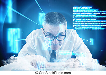 Composite image of mature businessman typing on keyboard -...