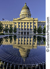 Unique view of the Utah state capital building - Utah...
