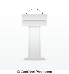 White Podium Tribune Rostrum Stand with Microphone - Vector...