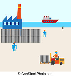 Boat harbor manufacturing vector - Vector background boat...