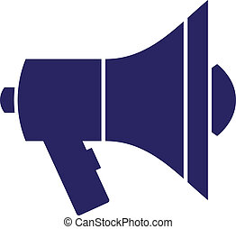 Mouthpiece - Dark blue speaker silhouette isolated on white....