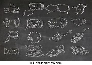 social media on a chalkboard