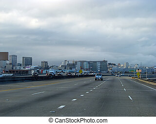 San Francisco California Multi-lane Highway Metropolitan USA