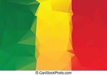 Mali flag - Mali lag - triangular polygonal pattern