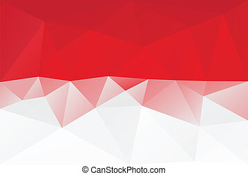 Monaco flag - triangular polygonal pattern