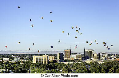 Unique view of Boise Idaho with Hot Air Balloons - Sky...