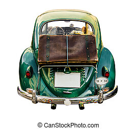 Isolated Vintage Car With Suitcase - Isolated Retro Styled...