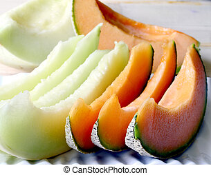 Cantaloupe melon. - Cantaloupe melon slices of fresh juicy...