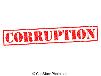 CORRUPTION red Rubber Stamp over a white background