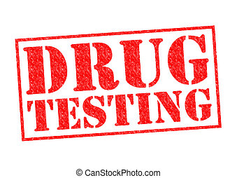 DRUG TESTING red Rubber Stamp over a white background.