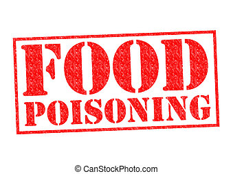 FOOD POISONING red Rubber Stamp over a white background.