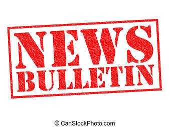 NEWS BULLETIN red Rubber Stamp over a white background