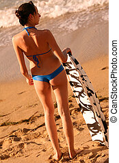 Young woman with boogie board