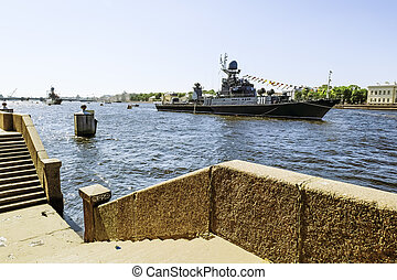 Warships in the waters of the Neva River in St. Petersburg...