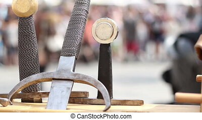 Swords and Fightings - Medieval fights arena with swords and...