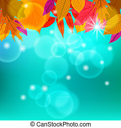 Vector card with autumn decor and leafs - Vector card with...