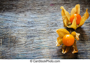 physalis on a dark wood background. toning. selective focus...
