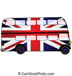 UK double deck bus - Cartoon illustration showing a double...