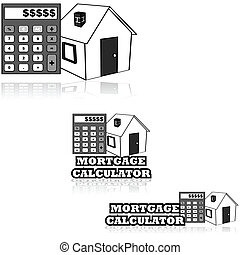 Mortgage calculator - Icon set showing a house and a...