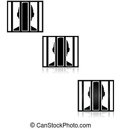 Behind bars - Icon illustration showing the outline of a...